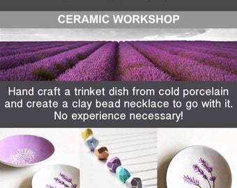 Ceramic workshop at Hitchin Lavender. Hertfordshire. Thursday's in April and May, 11am. Clay workshop. Craft workshop. Clay tutorial