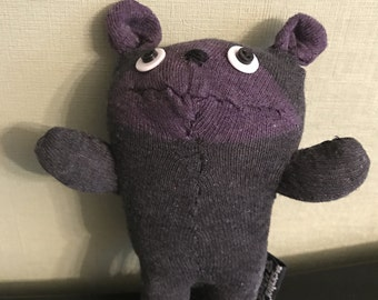 Handmade Grey and Purple Sock Bear