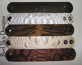 EMBOSSED Italian Crocodile PACK OF 4 Embossed Leather Supply Cuffs Embossed Reptile Leather Jewelry Designs Leather Supply Jewelry Making
