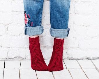 Red knit socks slipper women socks home socks  Red wool socks hand knitted socks Womens handmade socks Cute natural socks Warm cozy socks