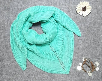 Handknitted cotton shawl/wrap, unique, ready to ship