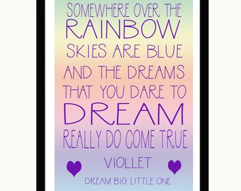 PRSONALISED NURSERY PRINT. Somewhere over the rainbow; Wizard of Oz Theme; Add Name