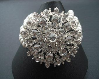 SALE - Faith, Four Strands Bridal Bracelet, Victorian Art Deco Rhinestone Bracelet, Vintage Style Bridal Jewelry, Weddng Jewelry