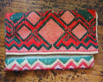 Vintage Tapestry Clutch - Handmade Boho Bag