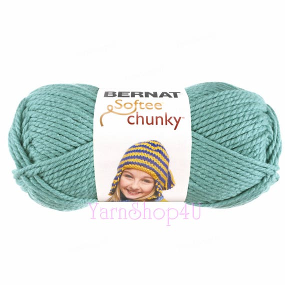 SEAGREEN Bernat Softee Chunky Yarn. It\'s a thick Blue