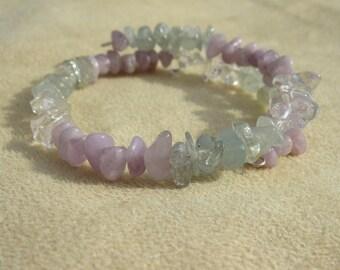 Aquamanie, Amethyst and Quartz Healing stones, Courage and Meditation, Light purple natural amethyst, Gemstone synergy bracelet