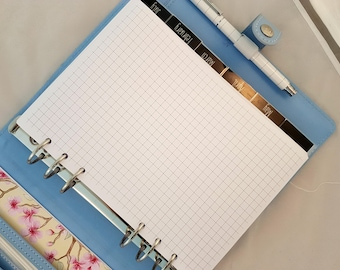 Printed A5 grid paper | planner grid notepaper | punched grid paper | for large Kikki K or Filofax | notepaper | planner refill