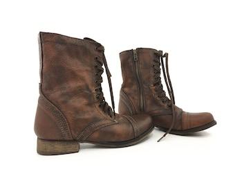 Steve Madden Vintage Zipper Boots Women size 6.5 / Brown Leather Lace Up  Low Heel Zip