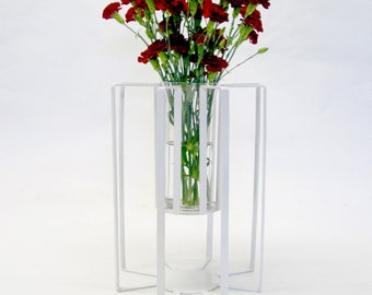 Lift Modern Steel Vase No.1 - Mid-Century Modern inspired welded steel and glass vase
