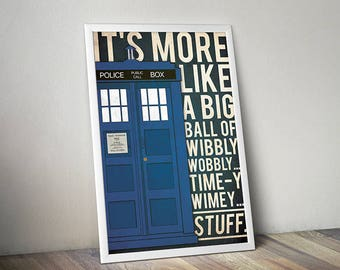 Doctor Who poster Tardis poster Doctor Who art alternative poster Dr Who quote poster Science Fiction poster Quote poster tv show poster