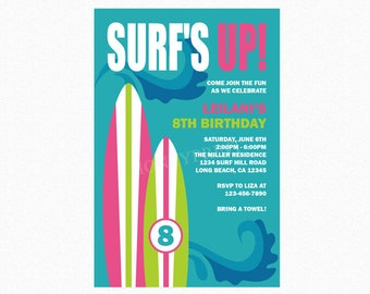 Surfboard Birthday Party Invitation, Surf Birthday Party Invitation, Girl, Pink, Green, Personalized, Printable or Printed