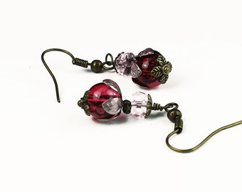 Tropical Bloom Earrings, Fuchsia Pink Glass with Hand Colored Brass
