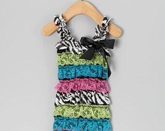 SALE! GIRLS Neon Zebra Ruffle Petti Romper