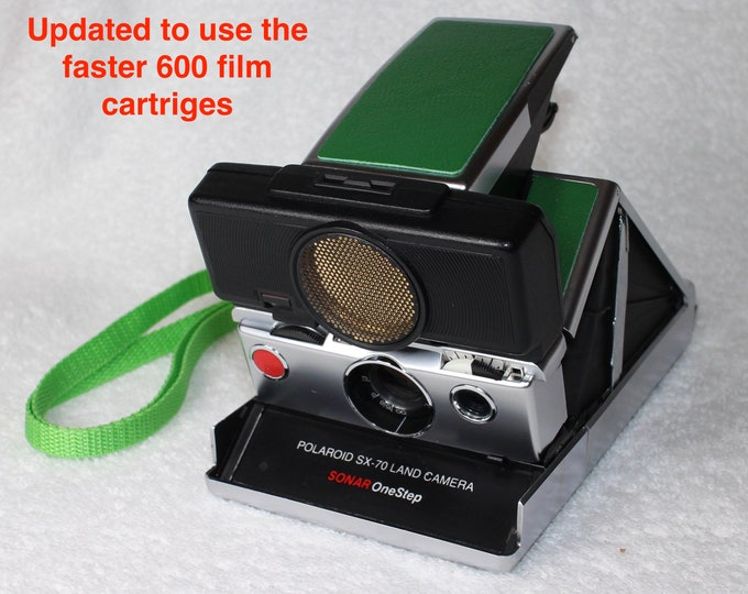 Rebuilt Polaroid SX70 Autofocus - Updated to use 600 Film Cartridges and With New Green Skins and New Neck Strap