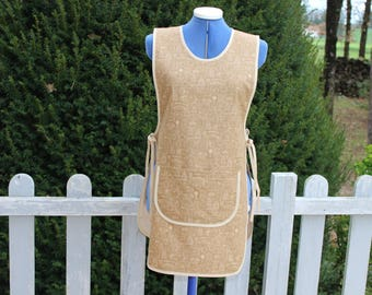 Apron, pinafore dress size 38 / 40, milk, 100% cotton coffee color, pocket in front, sides knotting, anti-progections back and front.