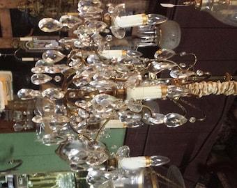 Brass and Crystal Chandelier, Vintage Lighting, Vintage Crystal Chandelier