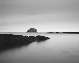 bass rock photo, black and white photography, fine art photography, large wall art, black and white print, large wall print, home decor