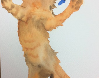 ORIGINAL cat watercolour painting