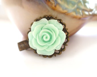 Mint Rose Antique Brass Alligator Hair Clip