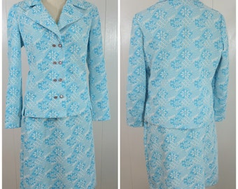 Blue Plus Size Vintage Skirt Suit / Retro Aqua Jacket and Skirt / Vintage Puritan Forever Young Clothing