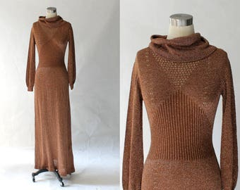 1970s Wenjilli Metallic Knit Maxi Dress // 70s Vintage Long Sleeve Cowl Neck Full Length Dress // Small