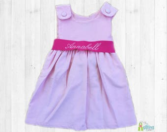 Monogrammed Dress, Pink Corduroy Girls Dress, Baby Dress, Toddler Dress, Sash Dress, Winter Dress, Monogram Outfit, Ribbon Dress