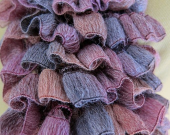 Spring Summer Ruffled Scarf in Mauve, Pink and Purple