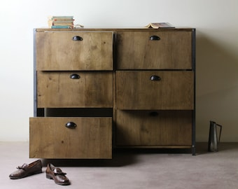 KONK! INDUSTRIAL Chest of Drawers [six drawer] Solid Oak - Bedroom Furniture