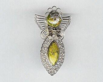 Bling and Unakite Angel Pin