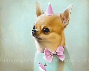 Chihuahua Original ART PRINT, Chihuahua illustration, Chihuahua portrait, Chihuahua Original Art, Chihuahua Painting,  animals ilustration