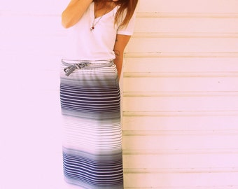 SALE Navy and White Striped Maxi Skirt with Tie Belt