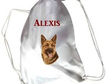 German Shepherd personalized with name pool gym bag