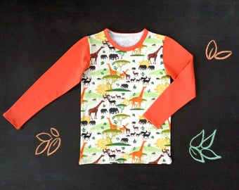 RESERVED FOR LUCIA - long sleeve tshirt with savannah animals