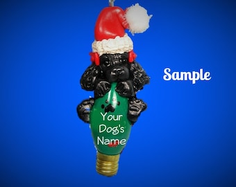 Black Cocker Spaniel with Red Bows OOAK Santa Dog Christmas Light Bulb Ornament Sally's Bits of Clay PERSONALIZED FREE with dog's name