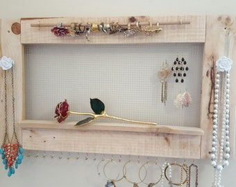 Re-Purosed Natural WoodHanging Jewelry Holder (FREE SHIPPING)