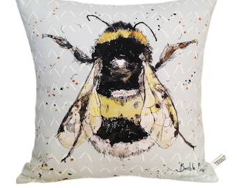 Bumble Bee Cushion, Animal Cushion, Wild Animal Cushion, Animal Pillow, Cotton Cushion, British, Gift, Interiors, Insect, Bee, Fly, Drawing