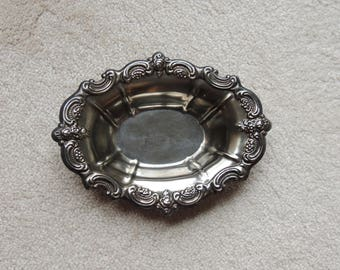 Vintage Silver Plate Dish - Oval Silver Dish -  Silver Plate Bowl -  Candy Dish - Serving Dish