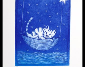 Dreamboat, original etching on paper, handmade and signed, cat print