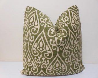 Avocado Chenille Pillow Cover- Fairbanks Green Scroll Brocade DESIGNER  Pillow Cover - Highland Court Chenille -20 x 20 inch