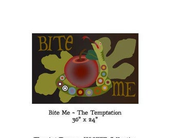 """Bite Me ~ Temptation ~ 36"""" x 24"""" Paper Pattern for HOOKED RUG by The Art Tramp/HOOKER Collection"""