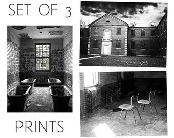 Abandoned Asylum / Manteno State Hospital, Illinois / Set of 3 Black and White Photography Prints / Mental Institution Architecture Wall Art
