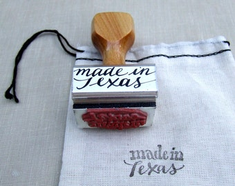 made in Texas, Wood Handle Rubber Stamp, Hand Lettered Modern Calligraphy, Southern Wedding, Made in America Stamp