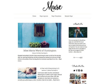 Minimalist Black and White Responsive Wordpress Blog Theme, Wordpress Template, Genesis Child Theme, Wordpress