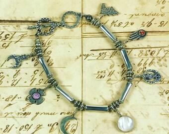 Vintage Sterling Silver Artisan Charm Bracelet