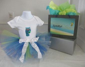 Baby Girls Tutu Dress 2 PC Owl Birthday Summer Princess Party Size 12-18 Mths
