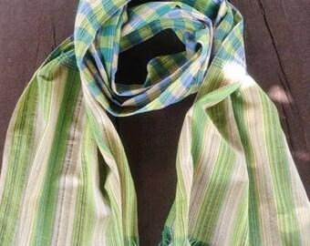 Plaid Handmade Cotton Scarf Green Shawl Handmade Scarf  Cotton Wrap