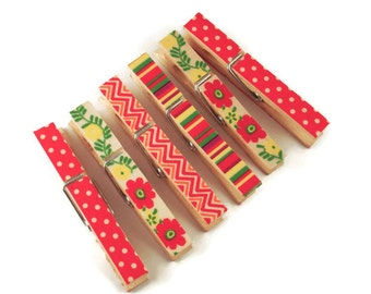 Decorative Clothespins Altered Clothespins Magnetic Clothes Pins in Summer Love
