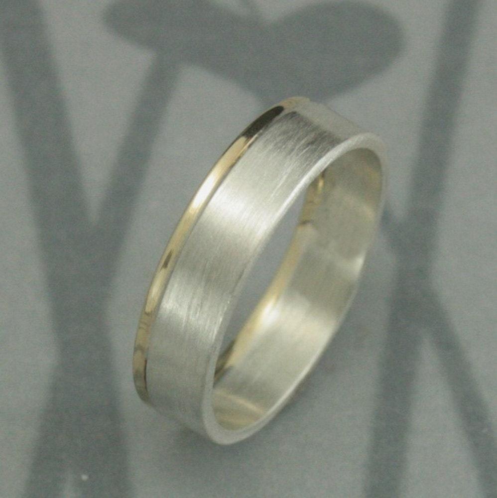 Two Tone Wedding BandModern Bi Metal Ring5mm Wide Flat