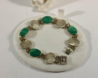 Bracelet Silver 925 Amazonite & characters Handmade SA248