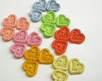 Tiny crochet heart appliques 0.8 inches, 21 pc.,  colorful appliques, light pastel